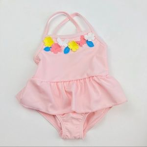 NWT Carter's Bathing Suit Girls Sz 3M Pink Flowers